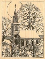 Winter Country CHURCH Wood Mounted Rubber Stamp Impression Obsession H1851 NEW