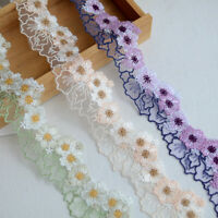 1Yard Flower Embroidered Trim Mesh Lace Ribbon Wedding Dress Clothing Sewing DIY