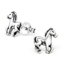 925 Sterling Silver Horse Pony Kids Girls Women Stud Earrings Jewellery Gift