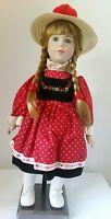 """I Love Tupperware Doll 16"""" Porcelain Red Black Dress Straw Hat 1980s Vintage"""
