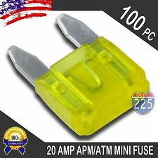 100 Pack 20A Mini Blade Style Fuses APM/ATM 32V Short Circuit Protection Fuse US