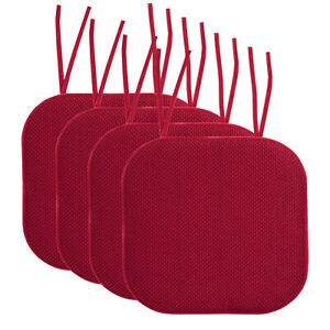 Memory Foam Honeycomb Non-Slip Chair Cushion Pad with Ties 2, 4, 6 or 12 Pack