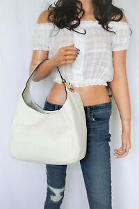 Michael Kors Fulton Large Hobo Shoulder Pebbled Leather Bag Optic White