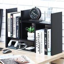 Adjustable Bookshelf Wood Desk Organizer Accessories Display Rack 5 Shelves