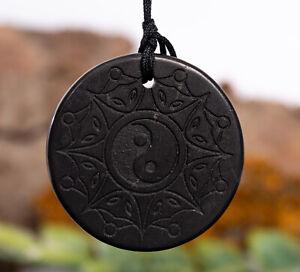 Shungite pendant Yin Yang engraved polished healing crystal