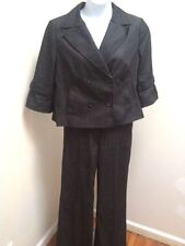 Ann Taylor Loft Pants Suit Black Denim Sz 16 Swing Blazer Sz 12 Ann Pants