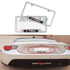 2Pcs JDM TRD Silver Stainless Steel License Plate Frame Carbon Fiber Emblem