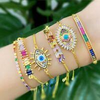 Fashion Adjustable Evil Eye Bracelet Rainbow Enamel Zircon Chain Jewelry Gifts