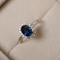 1.80 Ct Natural Diamond Blue Sapphire Gemstone Ring 14K Solid White Gold Size M
