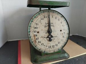 Vintage 25 Lbs AMERICAN FAMILY SCALE GREEN Country Farm Kitchen