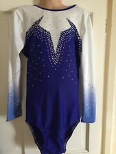 NEW GIRLS LEOTARD SIZE 34 - LONG SLEEVE BLUE AND WHITE