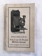1920's VTG KODAK KODAKS SPECIAL NUMBER 1 & 1A POCKET CAMERA OPERATERS MANUAL 84p