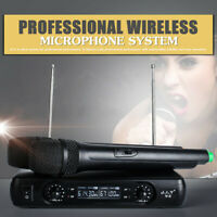 Professional 2 channel Wireless Dual Microphone Cordless Handheld Mic VHF