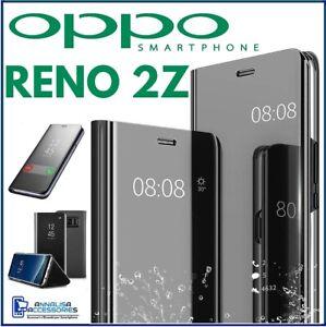COVER FLIP PER OPPO RENO 2Z CUSTODIA LIBRO NERA A SPECCHIO CLEAR VIEW 360° 2 Z