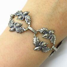 """Antique Danecraft 925 Sterling Silver Oak Leaf & Acorn Design Link Bracelet 7"""""""