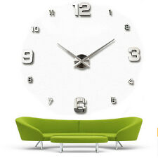 Modern DIY Large Wall Clock Kit 3d Mirror Surface Sticker Home Office Room Decor #2-silver