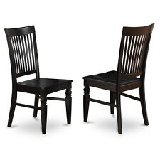 Dining Wood Seat Chair With Slatted Back In Black Finish, Set Of 2 NEW
