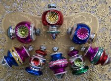 Christopher Radko Shiny Brite Christmas Ornaments Colorful Indents Set of 8