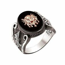 925 New design TURKISH OTTOMAN ONYX Stone Men Ring We Have All Sizes-fast shipp