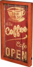 """LED Wood Box Light Up Sign """"START YOUR DAY at the coffee Café OPEN"""""""