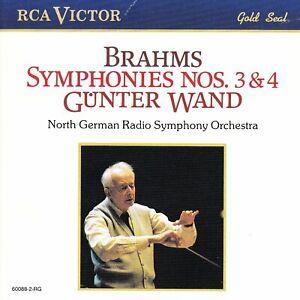BRAHMS / SYMPHONIES NOS. 3 & 4 - GUNTER WAND - RCA CD - GOLD SEAL