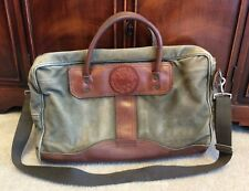 Duluth Pack Olive Green Canvas & Leather Messenger Laptop Briefcase Shoulder Bag