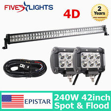 "42""IN 240W LED LIGHTS BAR SPOT FLOOD 4D LENS DRIVING OFFROAD 4WD 18W PODS WIRING"