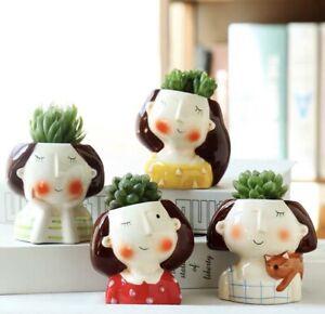 4× Lovely Cute Girl Ceramic Succulent Pot Set Brand New