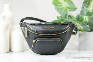 Michael Kors Erin Pebble Leather Black XS Waist Fanny Pack Crossbody Belt Bag