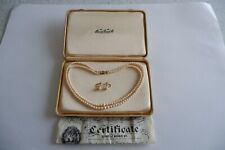 CIRO 2 ROW CULTURED PEARL NECKLACE & EARRING SET 9CT CLASP - C1960'S BOX, PAPERS