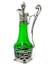 Jugendstil garrafa con tapón zinnmontierung en vidrio verde para decanter 1900