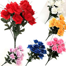 12 Heads Stems Artificial silk Flowers openRose Bunch Wedding Home Grave Outdoor