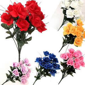 12 Heads Stems Artificial silk Flowers openRose Bunch Wedding Home Grave Outdoor