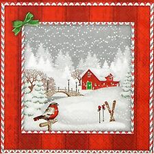 20x Lunch Paper Napkins Serviettes Party, Decoupage -Snowfall Red Bungalow
