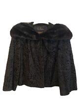 Vintage Black Persian Lamb Short Coat with Mink Collar by Bird Speakman sz 12