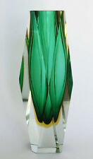 LARGE 25cm MURANO LUIGI MANDRUZZATO GREEN & YELLOW CUT GLASS VASE 1960-70's VGC