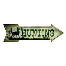"Outdoor/Indoor Elk Hunting Wall Decor Novelty Metal Arrow Sign 5"" x 17"""