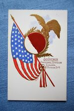 Post Card, Original Divison Colors R.I. Division, S of V, W/ Flag Swatch