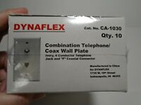NEW DYNAFLEX 2 TELEPHONE 1 CABLE WALL PLATE  WHITE WITH CABLE WIRES CAT5e PORT