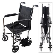 Lightweight Burgundy Aluminum Transport Chair WheelChair Easy Fold 19lbs FDA