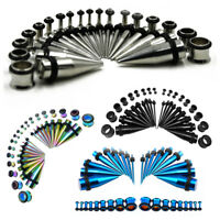 36pcs Stainless Steel Ear Taper Stretching Kit Gauge Expenders set Tunnel Plugs