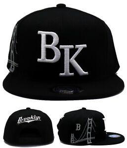 Brooklyn New Leader BK City Jumbo Bridge Nets Black White Era Snapback Hat Cap