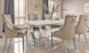 Marble Top & Polished Chrome Legs Luxury Cream Dining Table Lounge Dining
