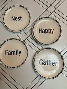 Pier 1 Set of 4 Textured Ironstone Appetizer Plates: Family, Gather, Nest, Happy