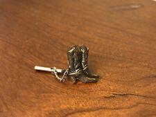Tie Tack Lapel Pin Vintage Western Cowboy Boot Silver