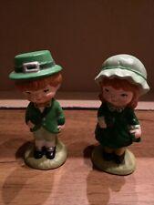 Vtg Ceramic Irish St Patricks Day Leprechaun (Mr & Mrs)Figurines 5� Tall