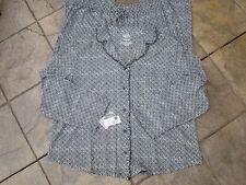 PJs (Size 2X) VERY Soft, Lng Slv,Pocket by Cabernet SR$58 Cotton Blend~BLACK PRT