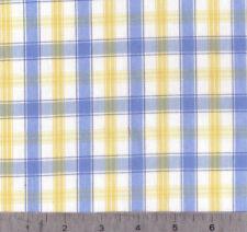 "Blue/Yellow Cotton Yarn Dye Plaid Shirting 60"" Wide By the Yard"