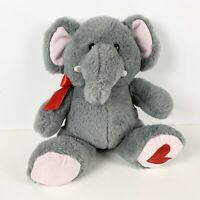 "Kellytoy Elephant Gray Plush Stuffed Animal Soft Toy 12"" with heart and ribbon"