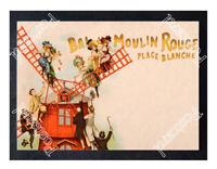 Historic Bal de Moulin Rouge at Place Blanche, Paris 1900s Advertising Postcard